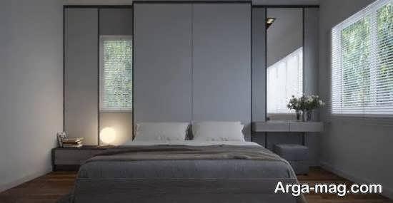 انواع ایده های زیبای طراحی اتاق خواب طوسی