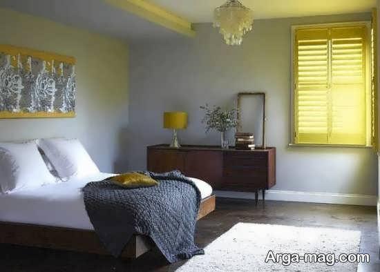 طراحی و زیباسازی اتاق خواب طوسی