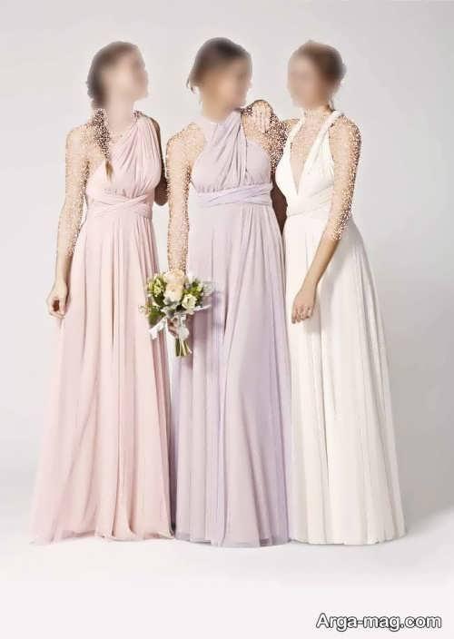 طرح لباس عروس همراه با ساقدوش