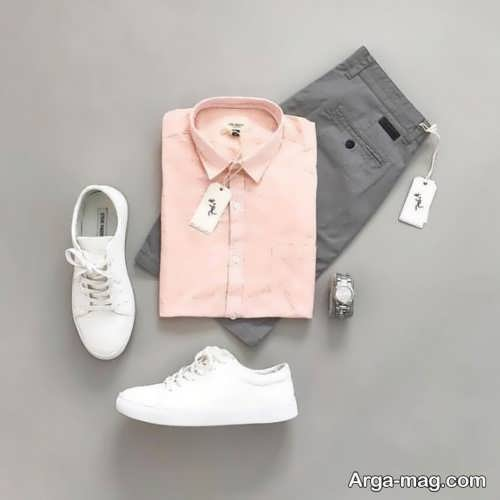 ست کفش سفید مردانه با پیراهن صورتی