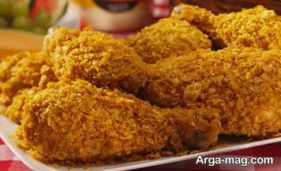ران مرغ سرخ شده بسیار لذیذ است.