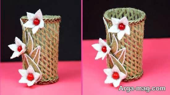 ایده های جذاب تزیین گلدان با کنف