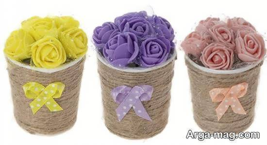 تزیینات شیک و دوست داشتنی گلدان با کنف