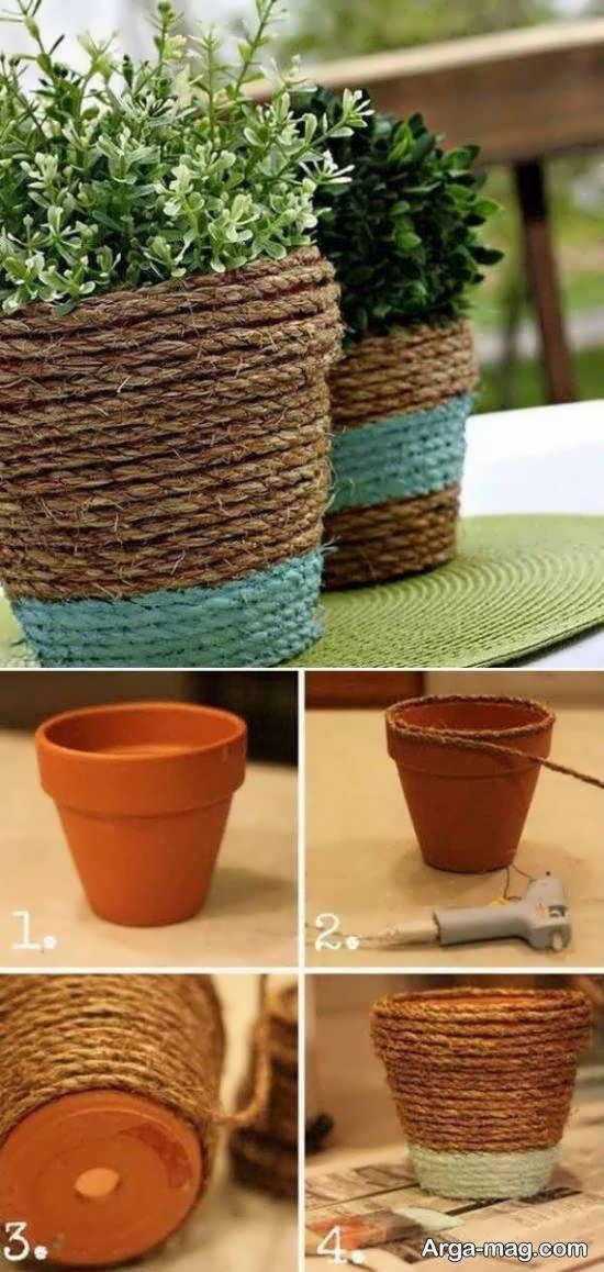 تزیینات خلاقانه گلدان با کنف