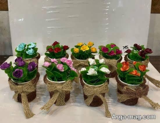 ایده هایی کاربردی برای تزیینات گلدان با کنف