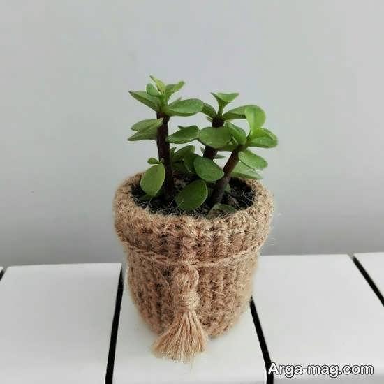 انواع ایده های زیبای تزیین گلدان با کنف