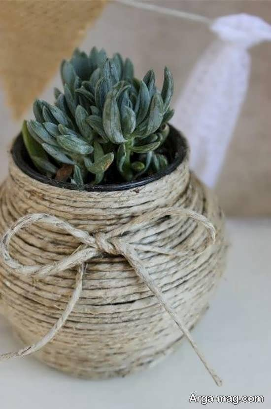 انواع ایده های متفاوت تزیین گلدان با کنف