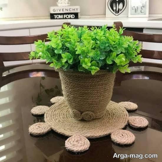 انواع ایده های خلاقانه تزیین گلدان با کنف