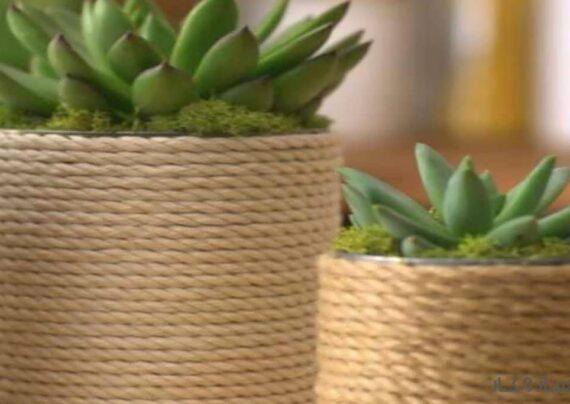انواع نمونه های ایده آل تزیین گلدان با کنف