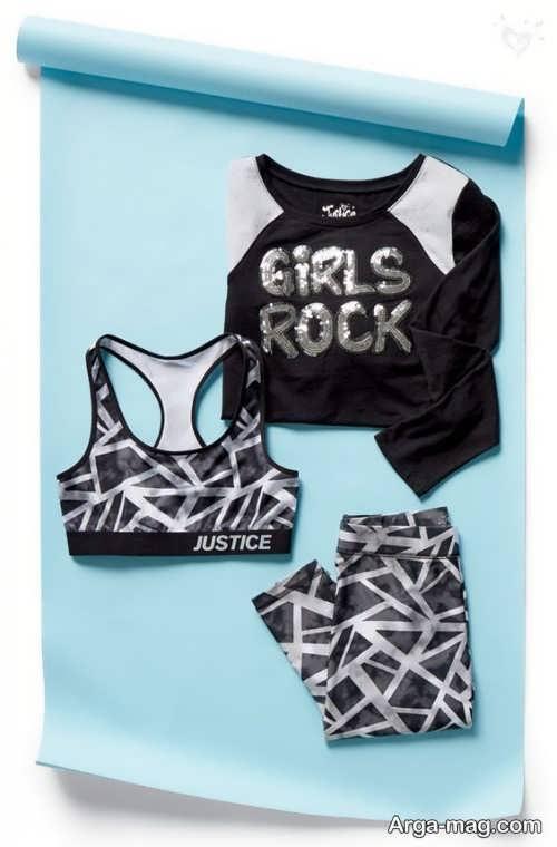 ست لباس ورزشی دخترانه طرح دار