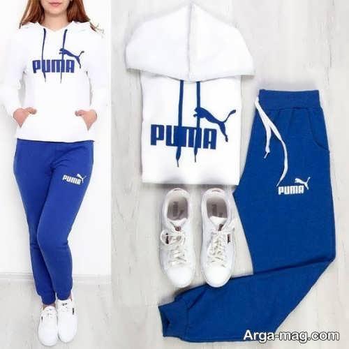 ست لباس ورزشی آبی و سفید