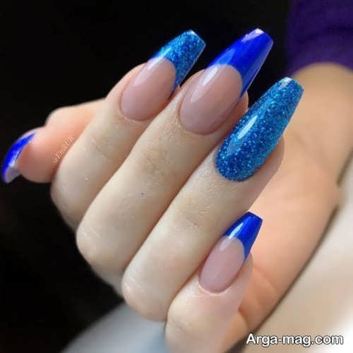 مدل ناخن گلدونی زیبا و آبی