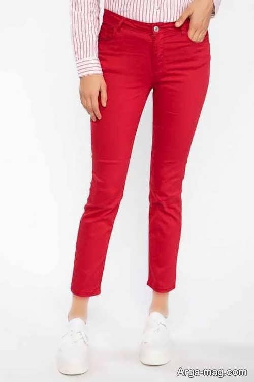 شلوار فاق کوتاه قرمز