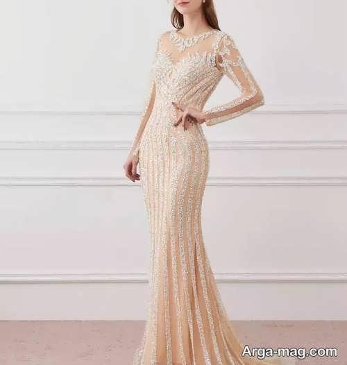 مدل لباس مجلسی کرمی شیک