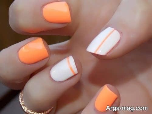 طراحی ناخن با لاک نارنجی