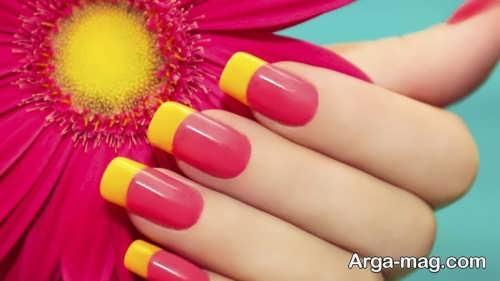 دیزاین ناخن زرد و سرخابی برای پوست روشن