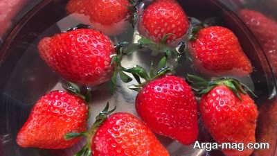 نحوه شستن توت فرنگی باشوینده گیاهی