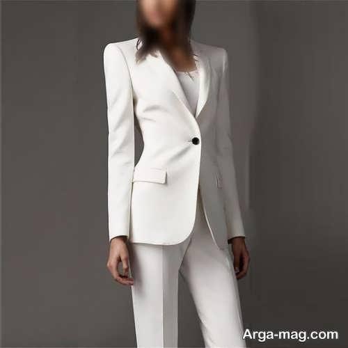 ست کت و شلوار سفید زنانه