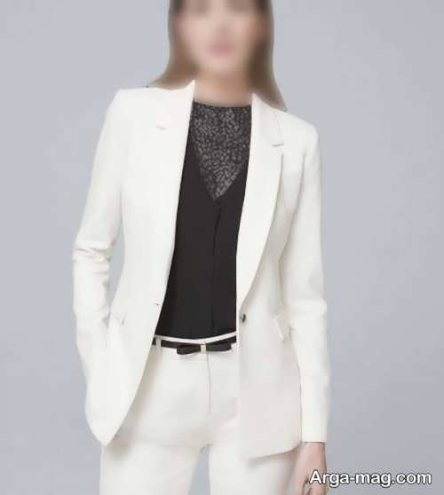 ست کت سفید شیک و ساده