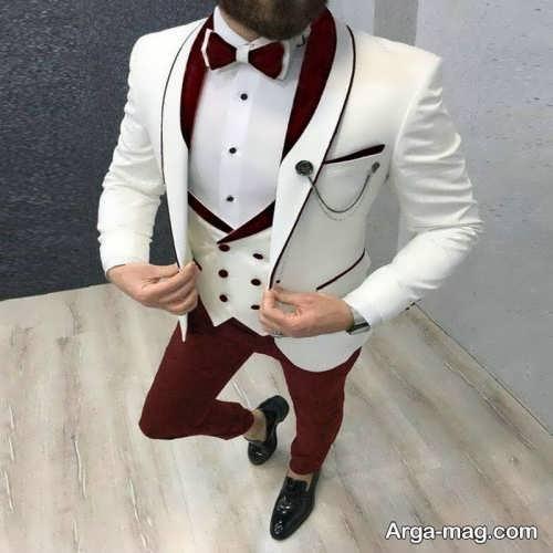 ست کت سفید مردانه