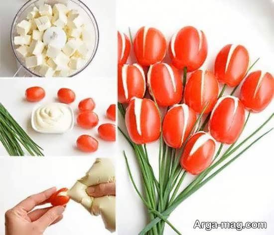 تزیین گوجه و خیار به شیوه های گوناگون و متفاوت