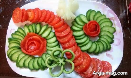 تزیین گوجه و خیار با استفاده از خلاقیت و هنر
