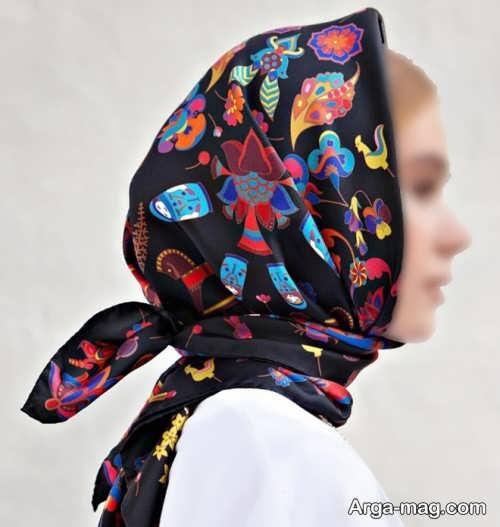 بستن روسری طرح دار