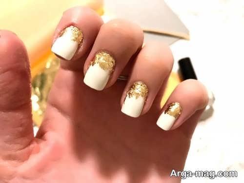 طراحی ناخن زنانه با ورق طلا