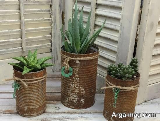 ایده هایی زیبا از ساخت گلدان با قوطی کنسرو