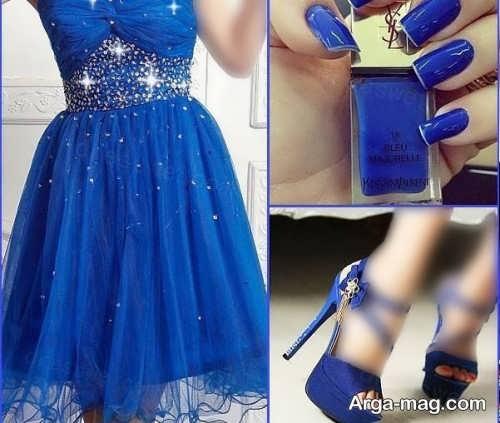 ست لباس آبی با لاک آبی