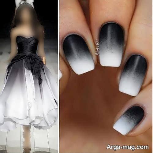 مدل ست لباس دو رنگ با لاک ناخن