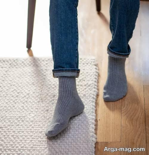 ست جوراب طوسی با لباس