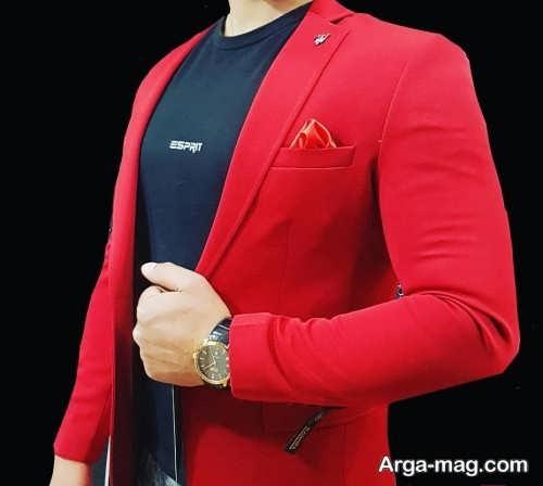 کت تک قرمز با تیشرت