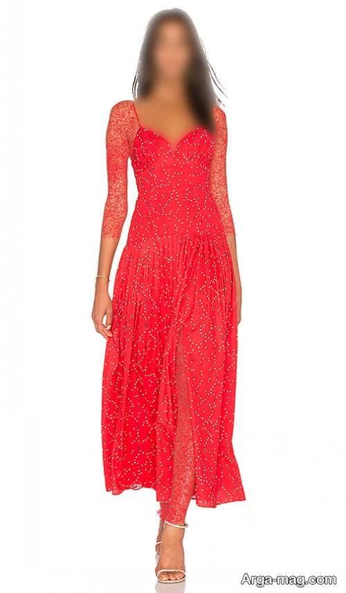لباس مجلسی قرمز و چاک دار