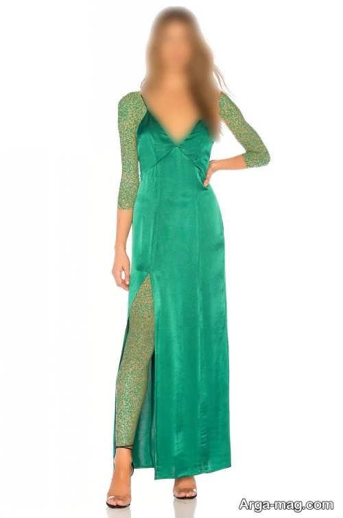 مدل لباس مجلسی چاک دار سبز