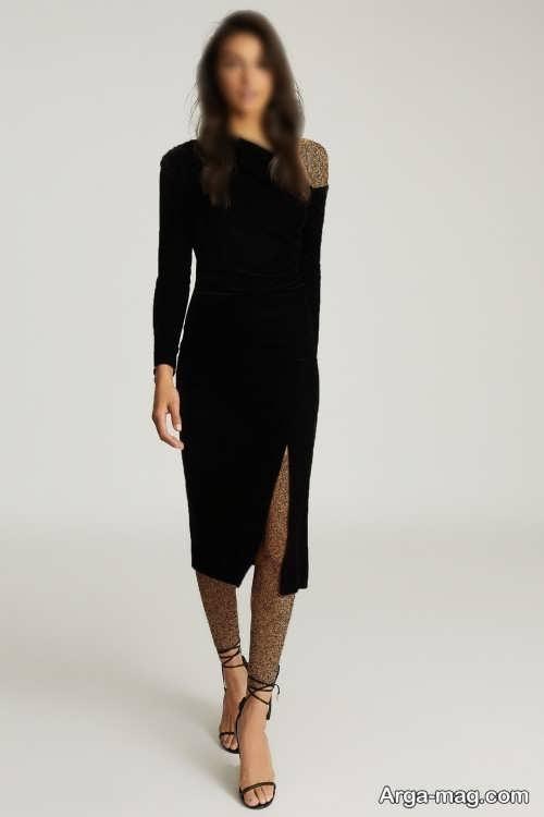 مدل لباس مجلسی مشکی و چاک دار