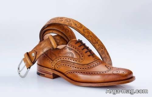کفش و کمربند عسلی مردانه