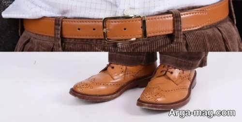 ست کفش و کمربند عسلی مردانه
