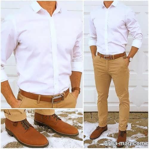مدل ست کفش و کمربند عسلی مردانه