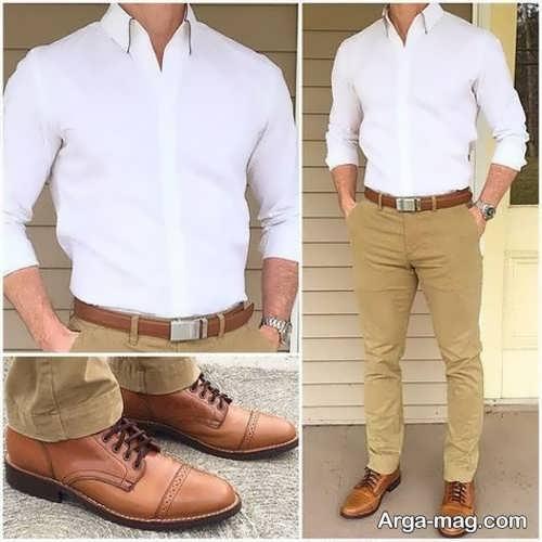 ست کفش و کمربند مردانه عسلی