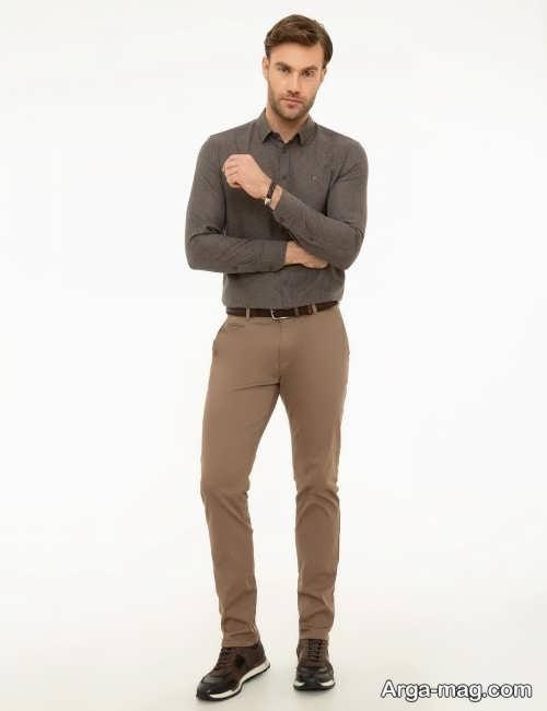 ست پیراهن رنگ تیره با شلوار قهوه ای