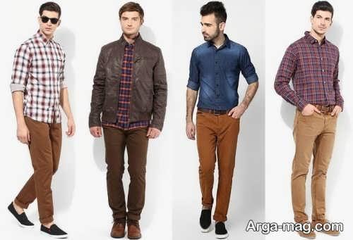 ست لباس زنانه و مردانه با شلوار قهوه ای