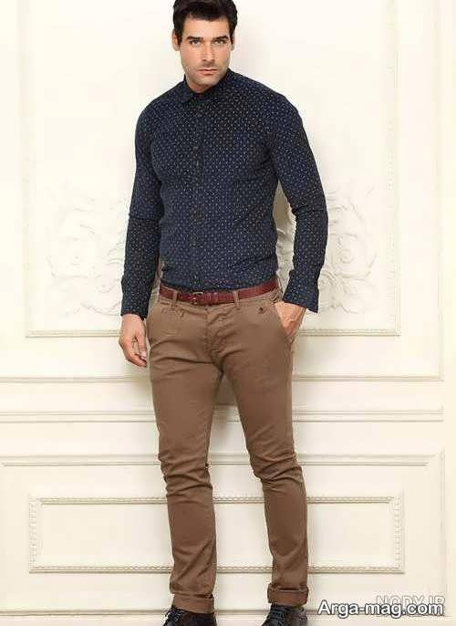 ست پیراهن شیک مردانه با شلوار قهوه ای رنگ