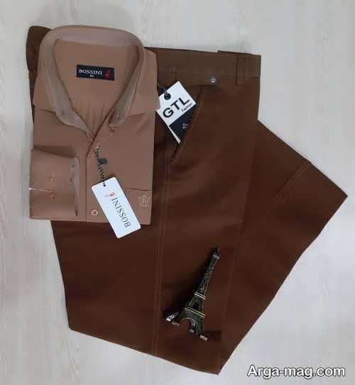 ست پیراهن قهوه ای رنگ روشن با شلوار قهوه ای تیره