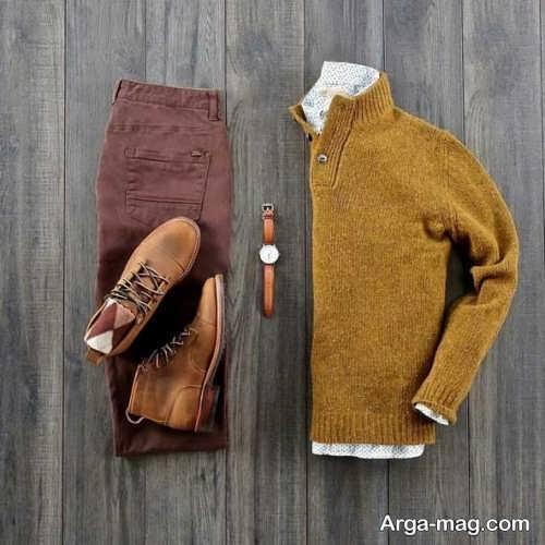 ست لباس مردانه با شلوار قهوه ای