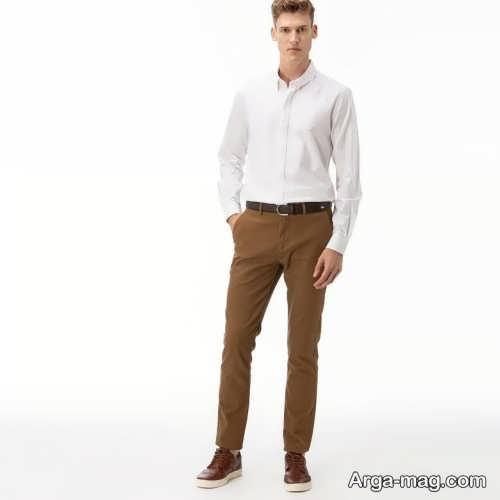 ست پیراهن سفید مردانه با شلوار قهوه ای