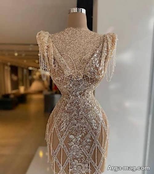 مدل لباس مجلسی دخترانه کار شده