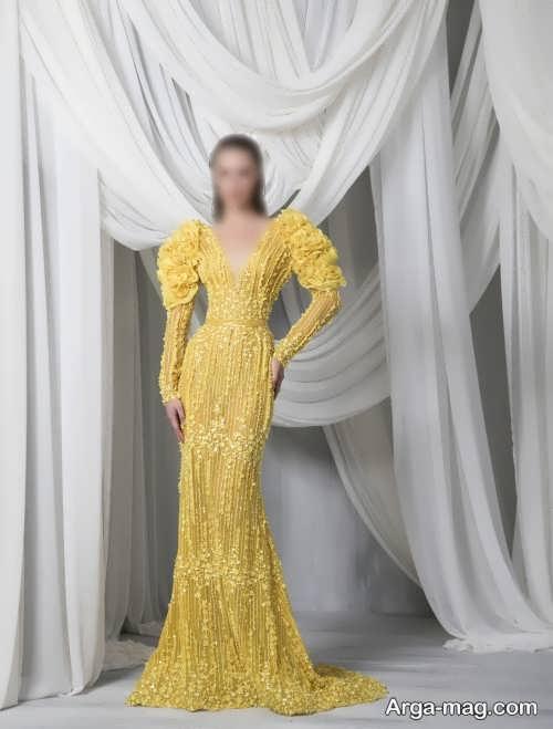 مدل لباس مجلسی زرد دخترانه 2022