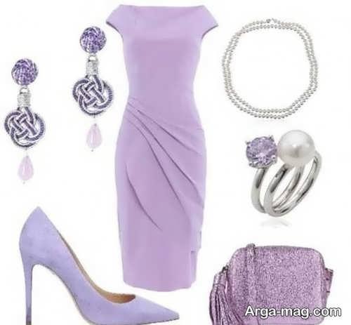 ست کردن لباس بنفش با جواهرات
