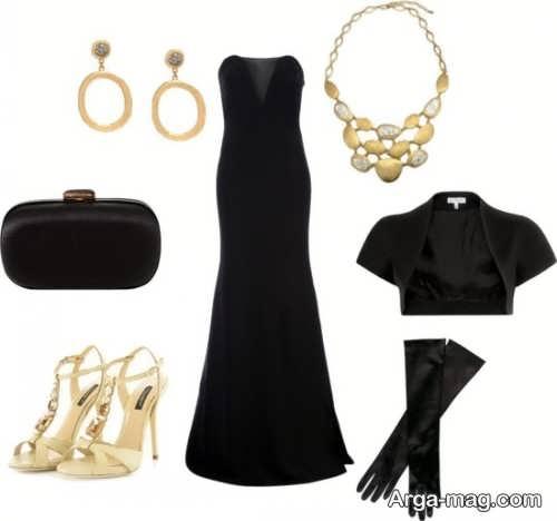 ست لباس مشکی با جواهرات